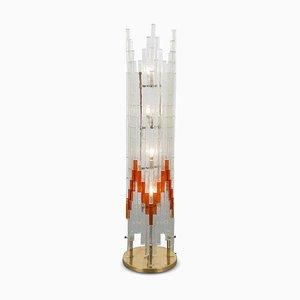 Lámpara de pie italiana de vidrio de Poliarte, años 60
