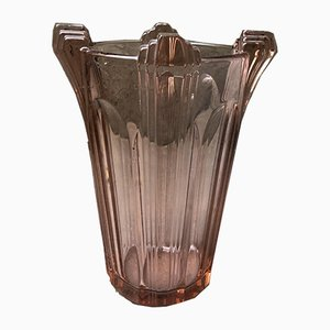 Art Deco Pink Glass Vase, 1940s