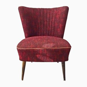Mid-Century German Burgundy Lounge Chair, 1950s