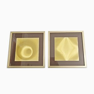 Gold Hologram Graphics from Helios, 1970s, Set of 2