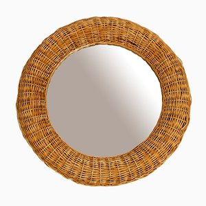 Italian Wicker & Bamboo Mirror, 1950s