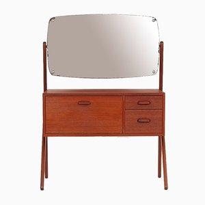 Cajonera danesa de teca con espejo, años 60