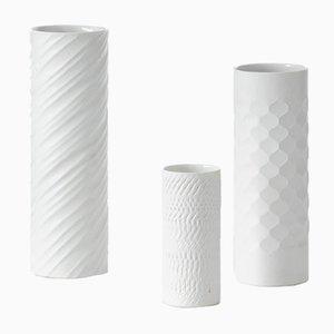 German White Unglazed Porcelain Vases, 1960s, Set of 3