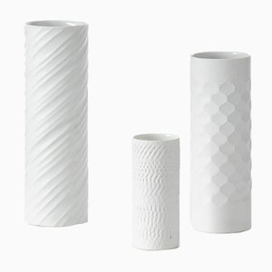 Vases en Porcelaine Blanche, Allemagne, 1960s, Set de 3