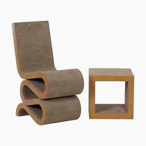 Wiggle Chair & Beistelltisch von Frank Gehry für Vitra, 2000er, 2er Set