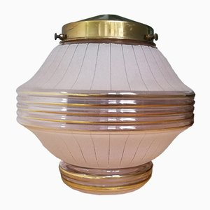 Art Deco Glass & Brass Ceiling Lamp, 1930s