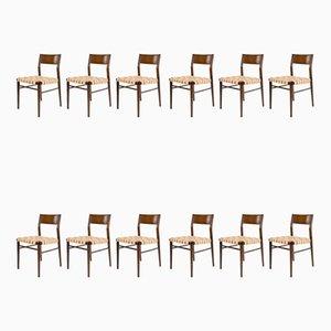 Chaises de Salle à Manger Modèle 351 en Teck par Georg Leowald pour Wilkhahn, 1950s, Set de 12