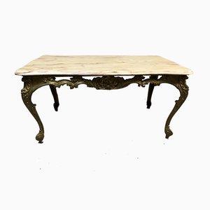 Table Basse en Bronze et Marbre, 1950s