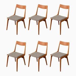 Chaises de Salle à Manger Boomerang Modèle 370 par Christensen, Alfred pour Slagelse Møbelværk, 1950s, Set de 6