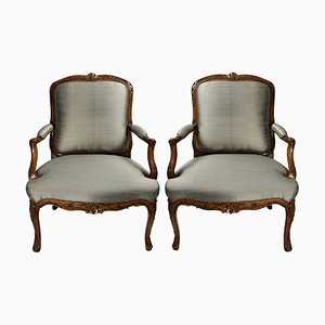 Antique Louis XV Walnut Armchairs, Set of 2