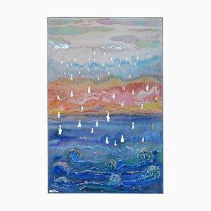 Italienische Blue Waves In Relief Scagliola Art Wandtafel von Cupioli