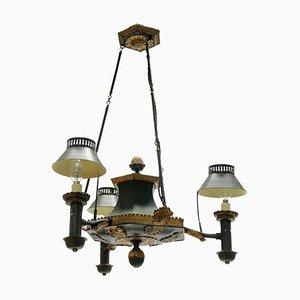 Lámpara de araña Toleware francesa antigua