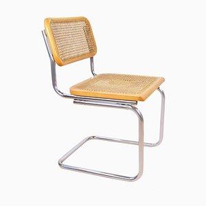 Mid-Century Armlehnstuhl mit Sitzgeflecht
