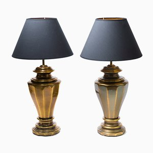 Large Brass Table Lamps, 1970s, Set of 2