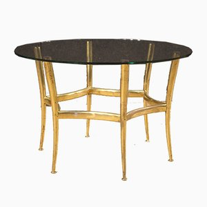 Italian Gilded Brass & Glass Coffee Table, 1950s