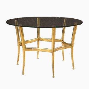 Italian Gilded Brass & Glass Coffee Table, 1950s