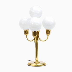 Lámpara de mesa estilo Art Déco grande dorada, años 70