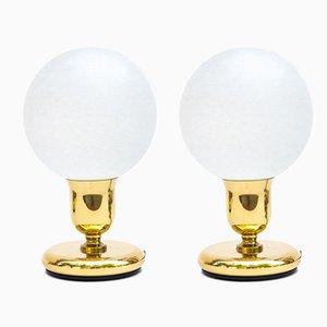 Art Déco Tischlampen mit kugelförmigen Schirmen, 1970er, 2er Set