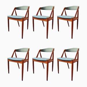 Mid-Century Modell 31 Esszimmerstühle aus Teak von Kai Kristiansen, 6er Set