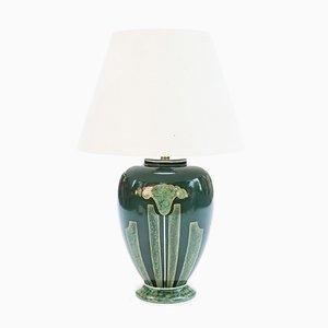 Lámpara de mesa grande de cerámica verde esmeralda de Louis Drimmer, años 70
