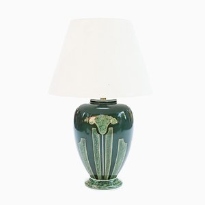 Large Emerald Green Ceramic Table Lamp by Louis Drimmer, 1970s