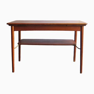 Danish Oak and Brass Extendable Coffee Table, 1950s