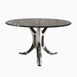 Mesa de comedor modelo te11 de mármol negro y metal de Martin Visser para 't Spectrum, años 60