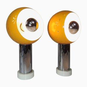 Space Age Modell 594 Ball Tischlampen von Fischer Leuchten, 1970er, 2er Set
