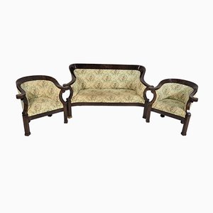 Antique Biedermeier Living Room Set, Set of 3