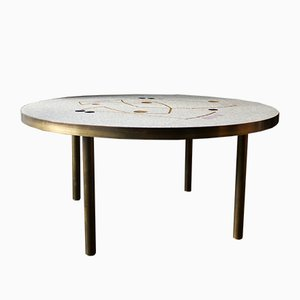 Mid-Century German Pale Gray, Gold, and Lilac Mosaic Coffee Table by Berthold Müller