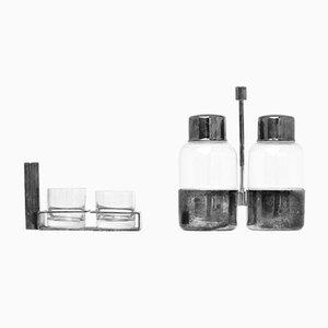 Juego de licor italiano de plata y vidrio de Seguso, años 30