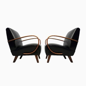 Bentwood and Black Leather Armchairs by Jindřich Halabala for UP Závody, 1930s, Set of 2