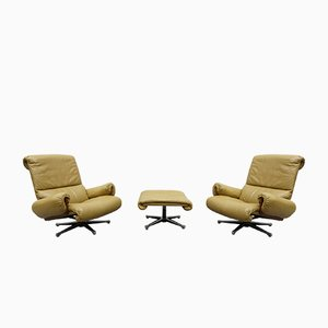 Leather and Rosewood Swivel Chairs by André Vandenbeuck for Strässle International Collection, 1960s, Set of 2