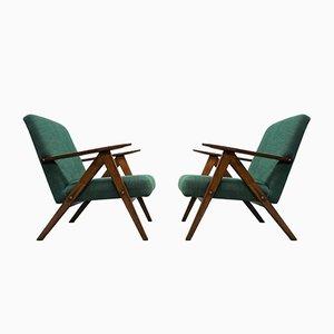 Grüne Mid-Century Modell B 310 Armlehnstühle, 1960er, 2er Set