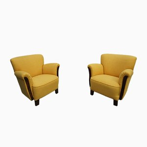 Mid-Century Art Deco Yellow Lounge Chairs, Set of 2