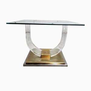 Table Basse en Lucite et Laiton, 1970s