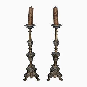 Antike französische Kerzenhalter aus Messing, 2er Set