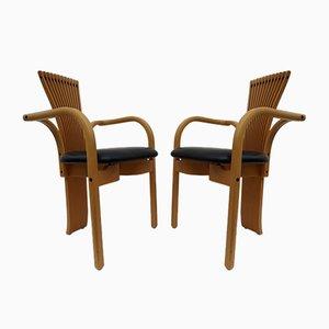 Totem Armlehnstühle mit Sitzflächen aus schwarzem Leder von Torstein Nilsen für Westnofa, 1986, 2er Set