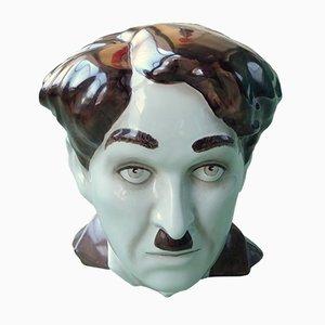 Charlie Chaplin Keramikbüste von Morris Rushton für Flesh Pots Stoke-on-Trent, 1970er
