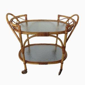 Italian Bamboo & Glass Coffee Table, 1950s