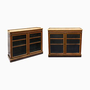 Antique Ebonised Walnut & Gilt Metal Mounted Pier Cabinets by James Lamb for Lamb Of Manchester, Set of 2