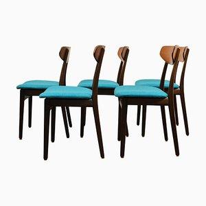 Mid-Century Esszimmerstühle aus Palisander, 5er Set