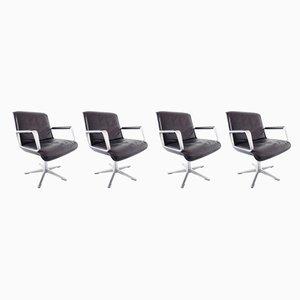 Esszimmerstühle aus Leder von Delta Design für Wilkhahn, 1960er, 4er Set