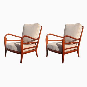 Italian Cherry Wood Lounge Chairs by Paolo Buffa, 1950s, Set of 2