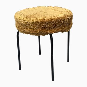 Black Metal and Yellow Fabric Stool, 1960s