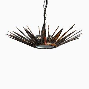 Mid-Century Gilt Spiked Pendant Lamp