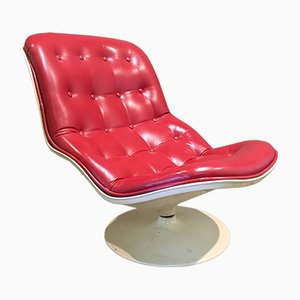 Vintage Leather Swivel Reclining Lounge Chair by Georges Charles van Rijck for Beaufort, 1970s