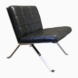 Mid-Century Black Leather Lounge Chair