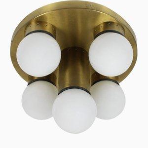 Sputnik Deckenlampe aus Opalglas & Messing, 1960er