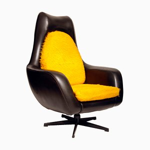 Black Leather Swivel Chair from Drevotvar, 1980s